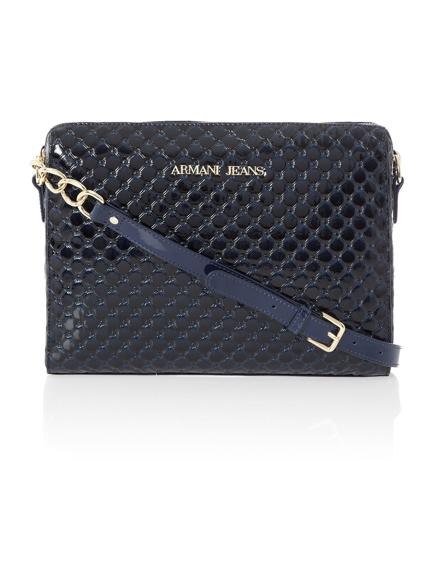 Navy diamond print medium cross body bag