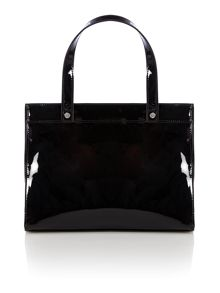 Black patent cross body bag