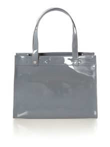 Grey patent cross body bag