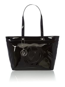 Black large patent tote bag