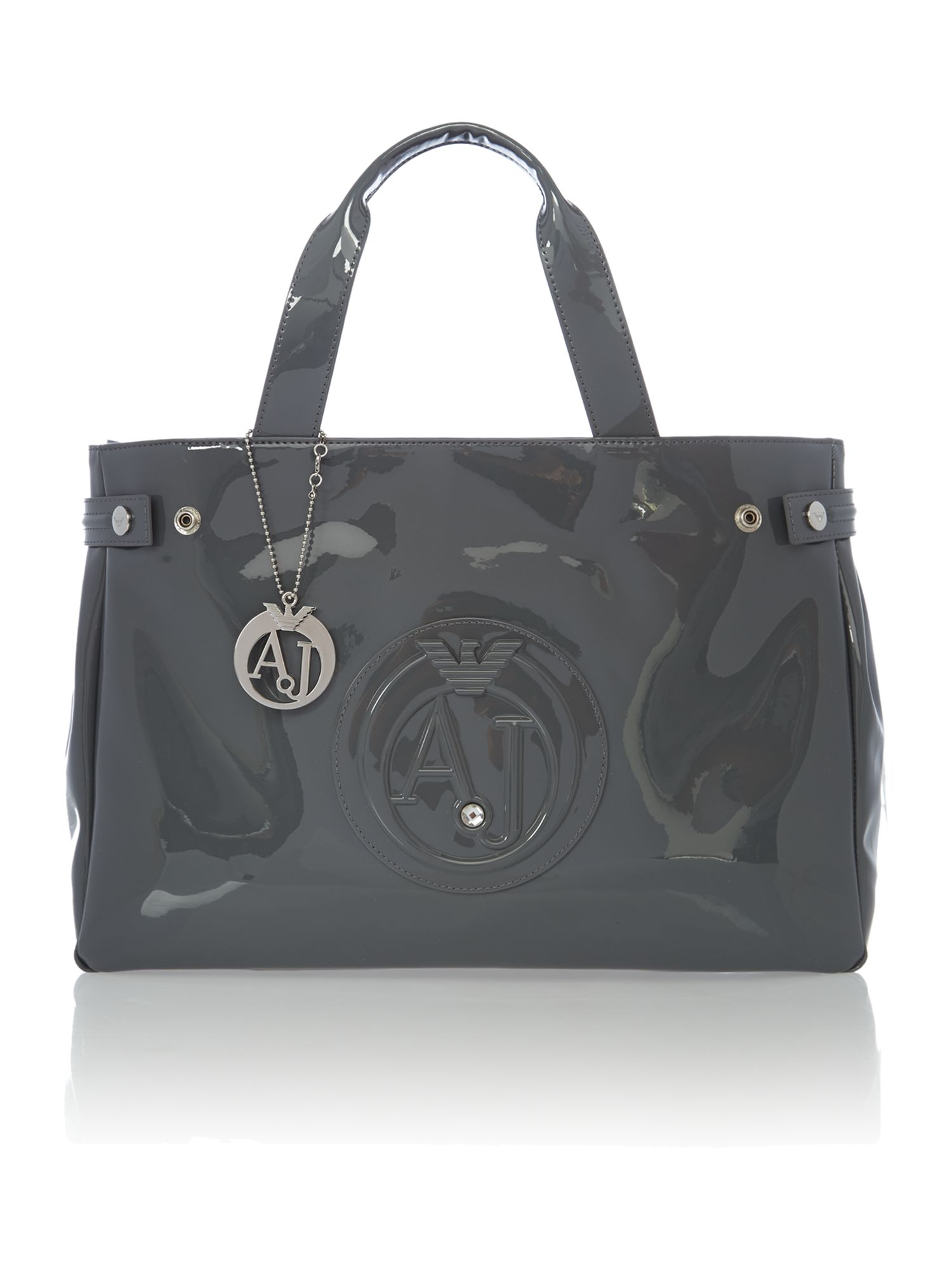 Grey patent medium tote bag