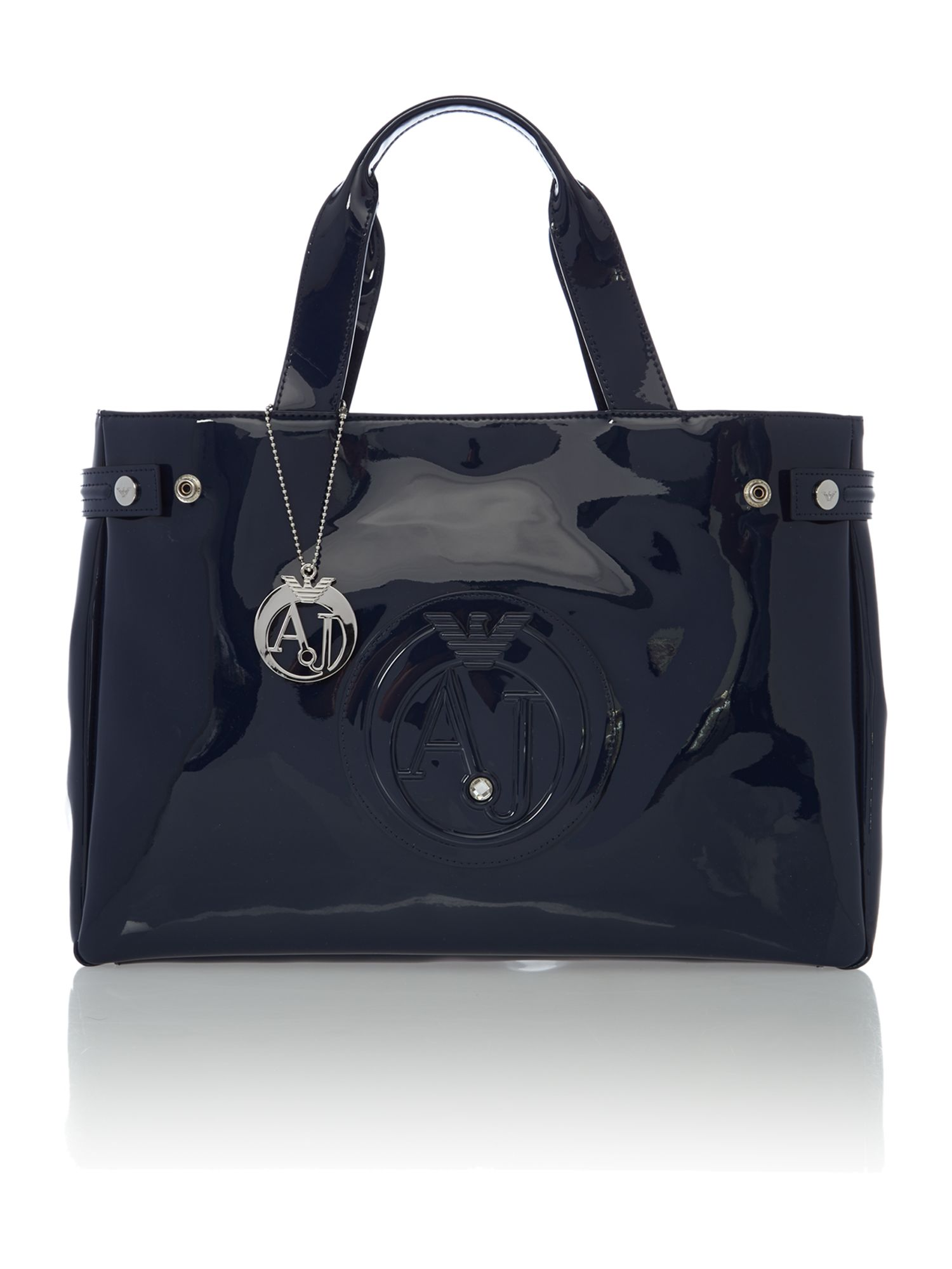 Navy patent medium tote bag