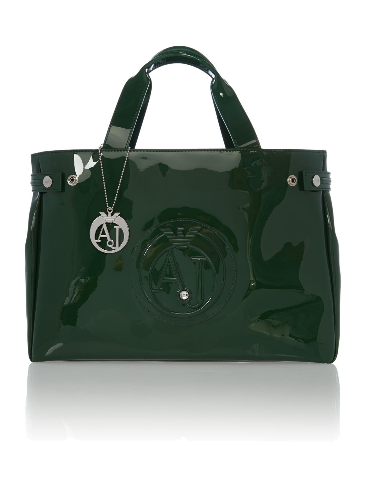 Green patent medium tote bag