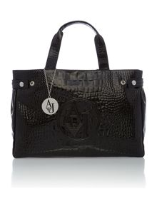 Black medium croc tote bag