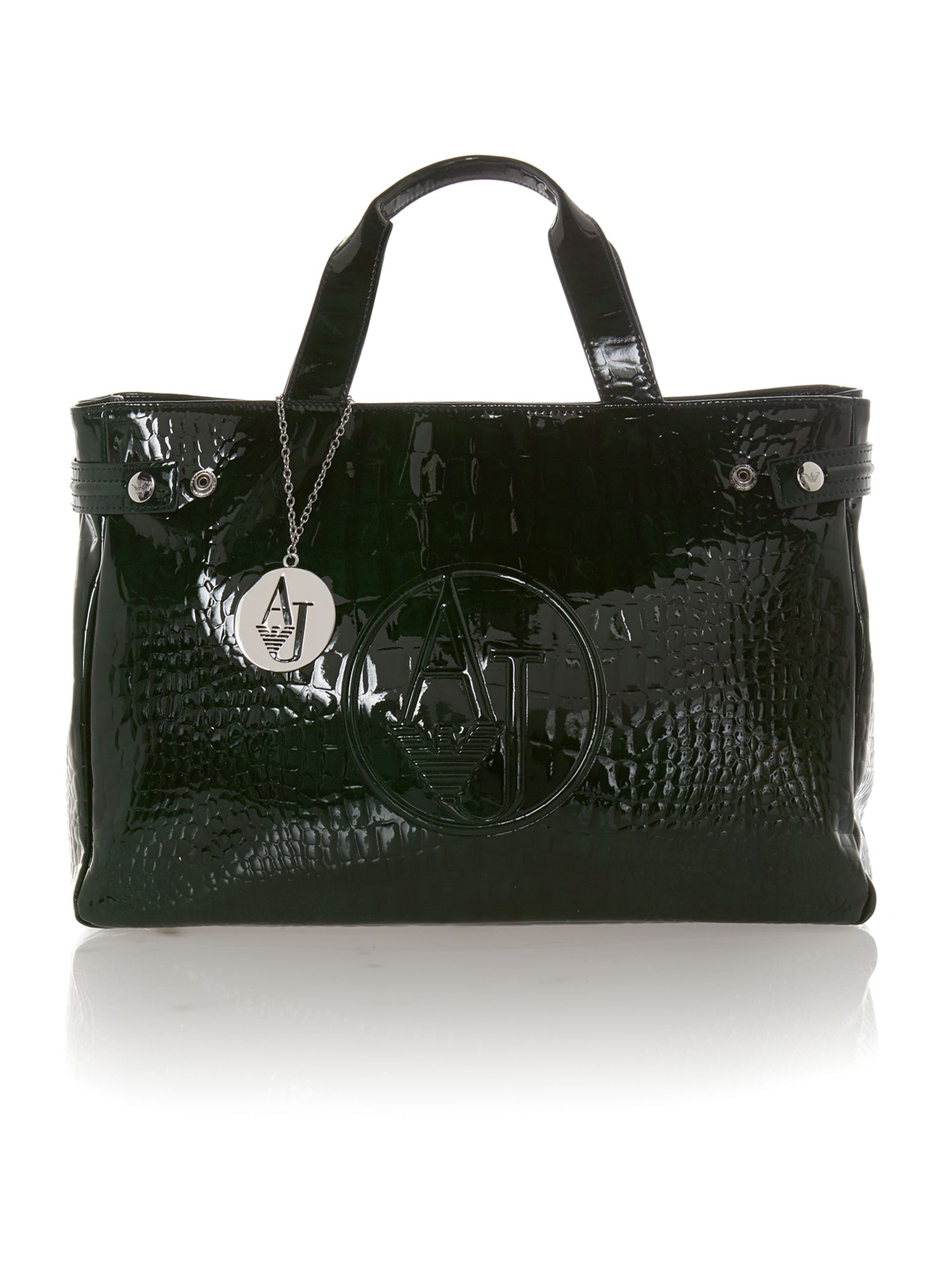 Green medium croc tote bag