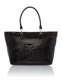 Black large croc tote bag