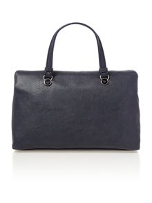 Navy medium flapover cross body tote bag