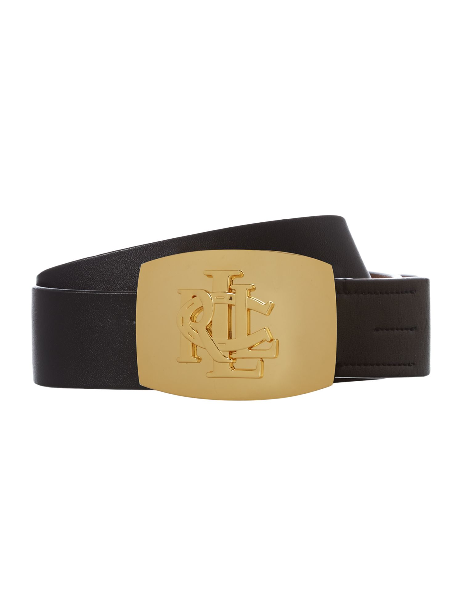 Leather belt with debossed logo