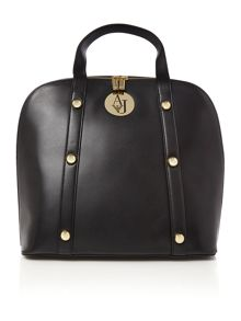 Black large studded dome bag
