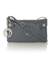 Grey patent small cross body bag