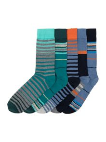 5 pack mixed stripe socks