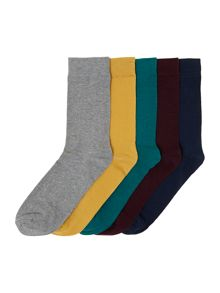 5 pack plain bright socks