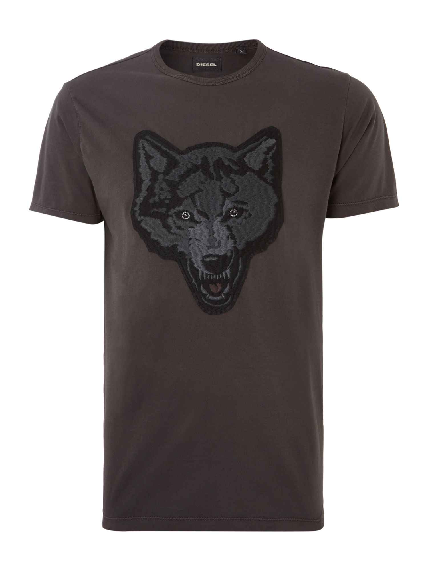 Wolf head applique crew neck t shirt