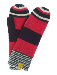 Bawdy stripe wool mix mittens