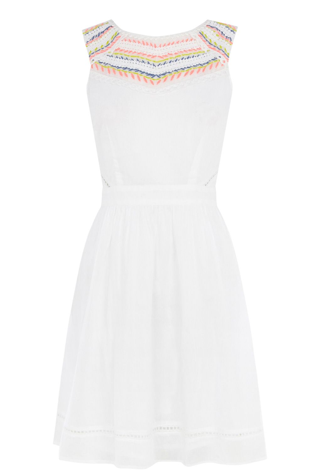 Embroidered yoke skater dress