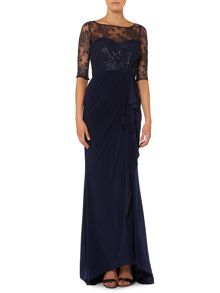 Lace top with drape front dress