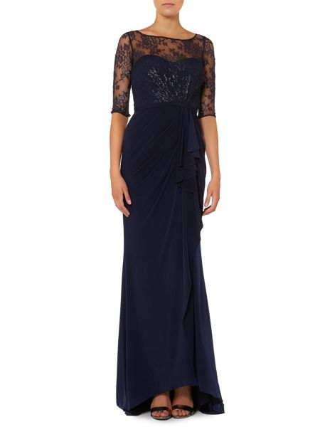 JS Collections Lace top with drape front dress
