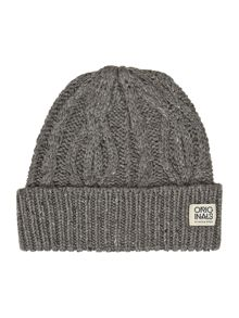 Speckled cable knit beanie hat