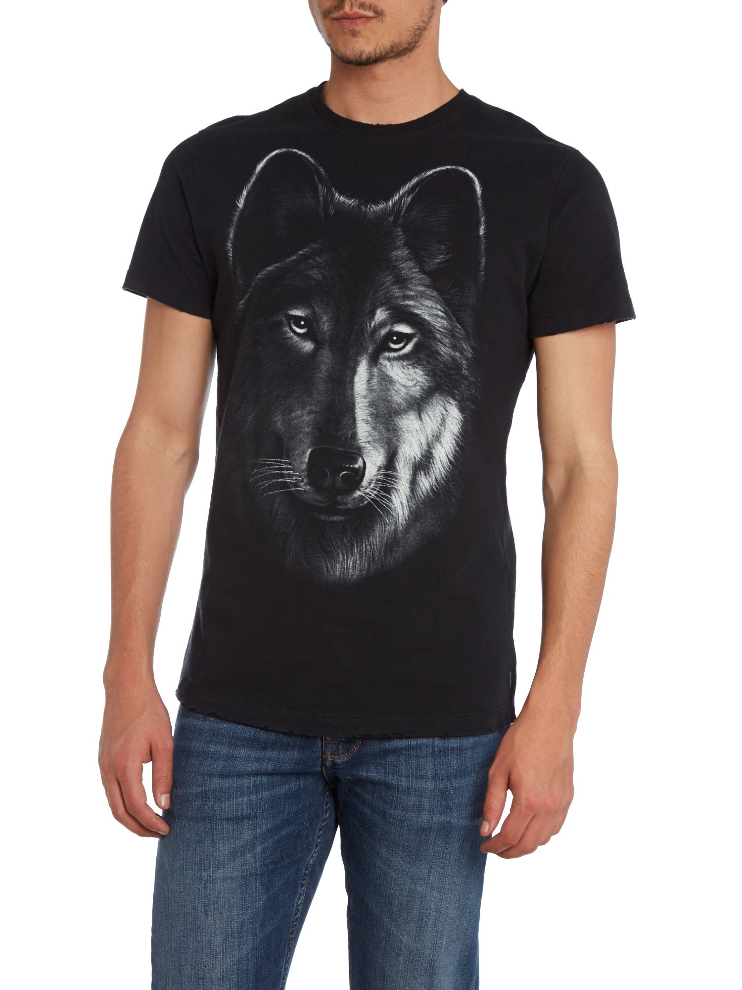Wolf head print crew neck t shirt