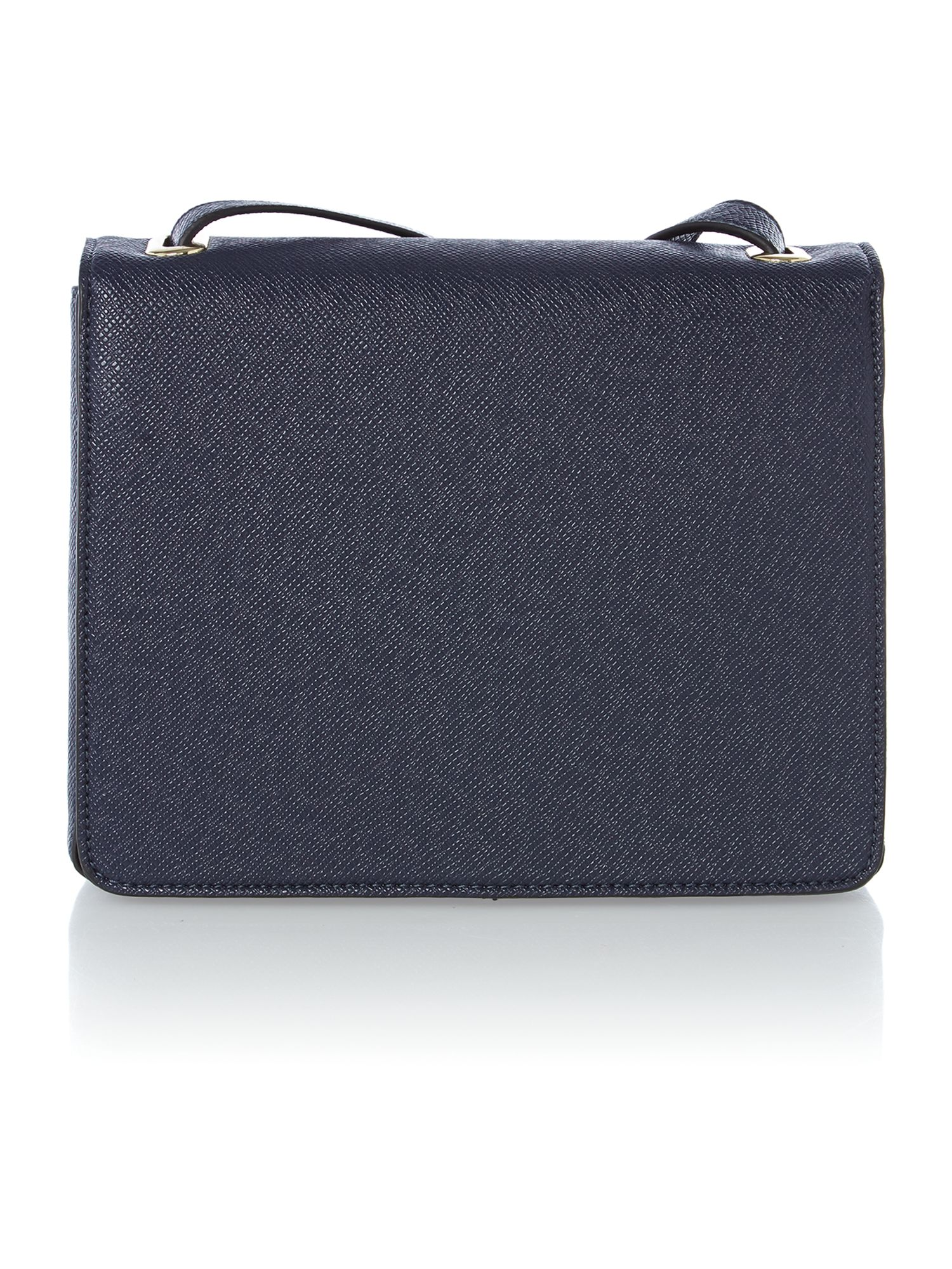 Navy small saffiano flapover cross body bag
