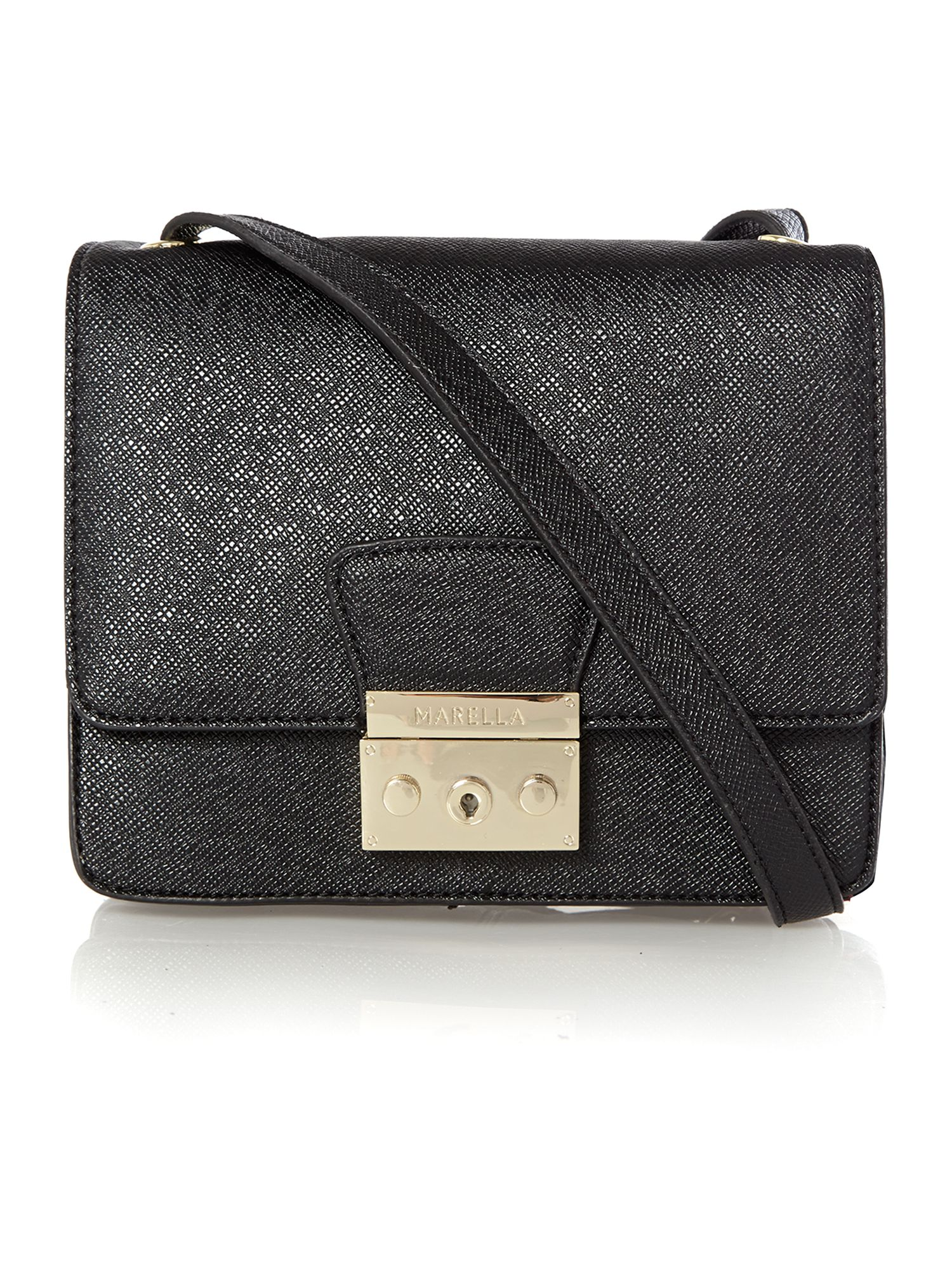 Black small saffiano flapover cross body bag