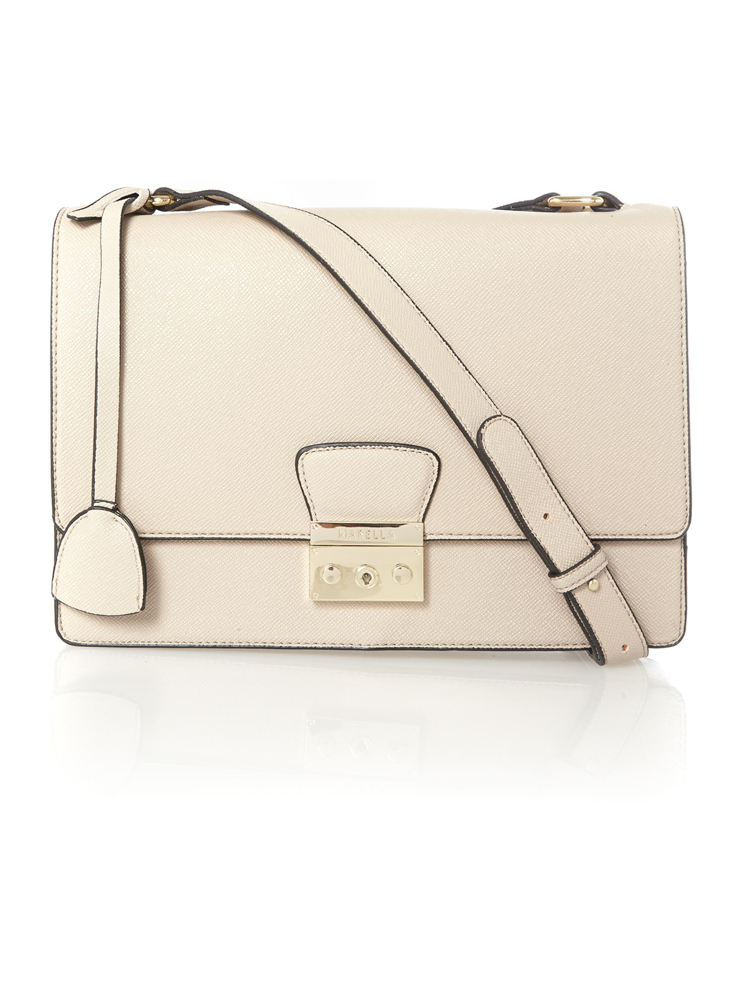 Neutral large saffiano flapover shoulder bag