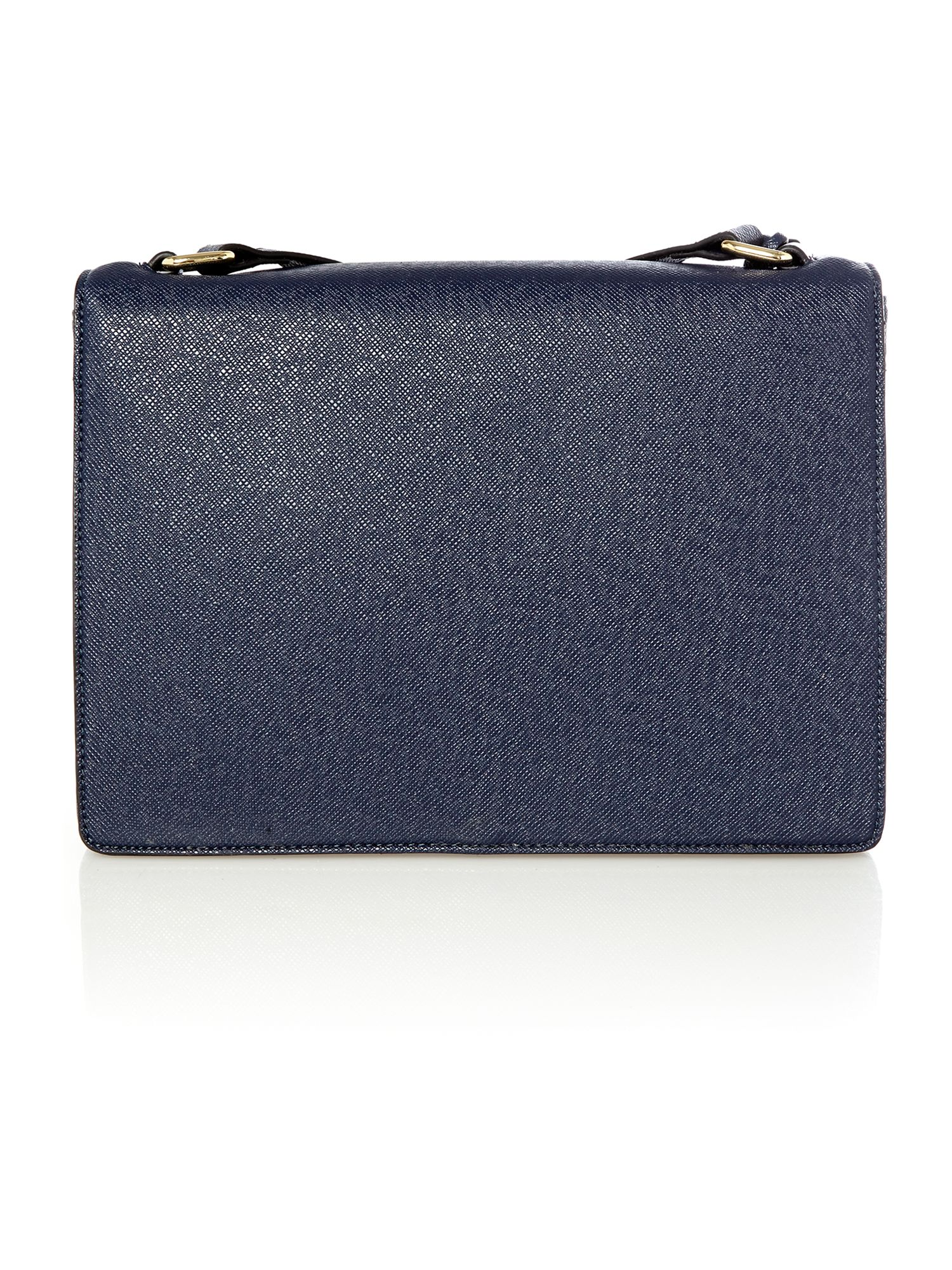 Navy large saffiano flapover shoulder bag