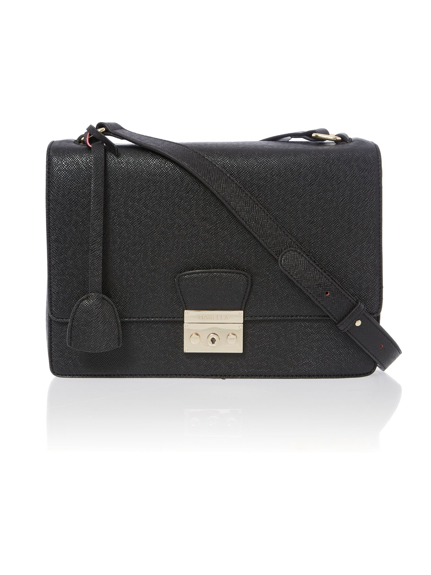 Black large saffiano flapover shoulder bag