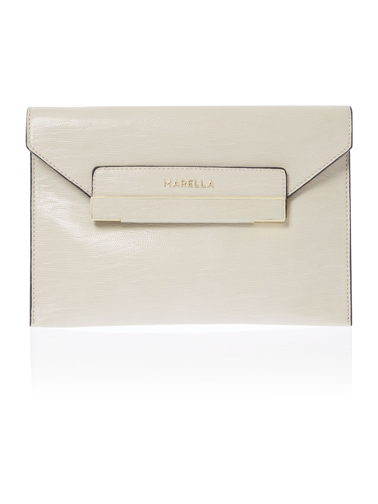 Neutral envelope clutch bag with chain strap