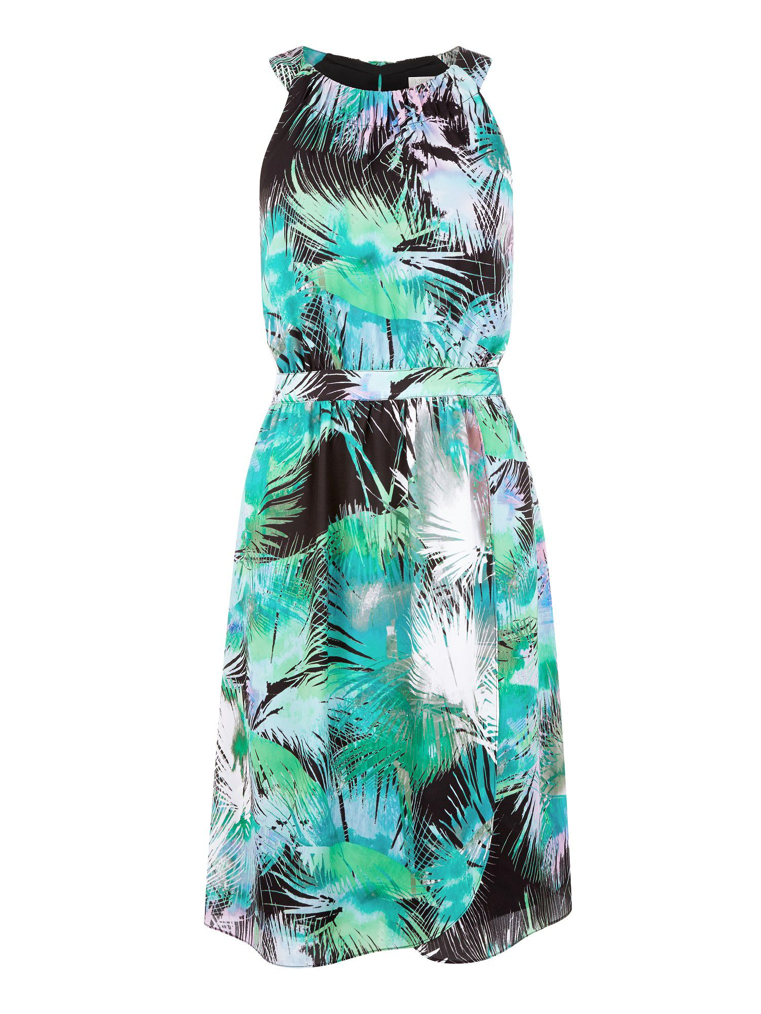 Palm print halter neck dress