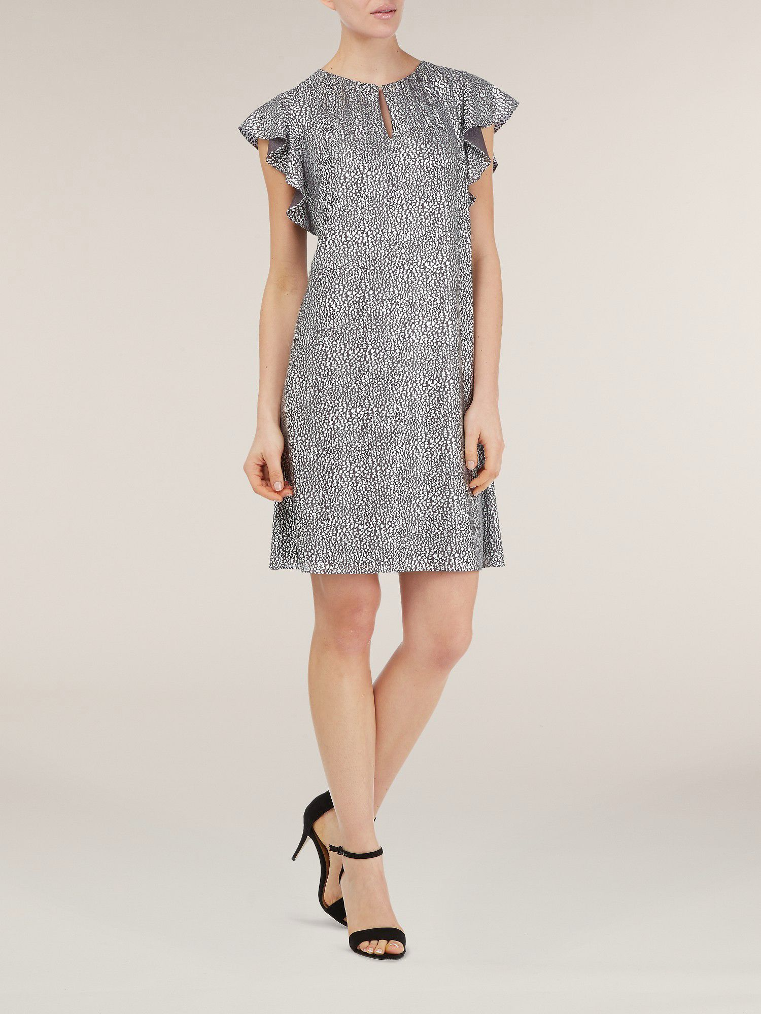 Frill sleeve metallic dress