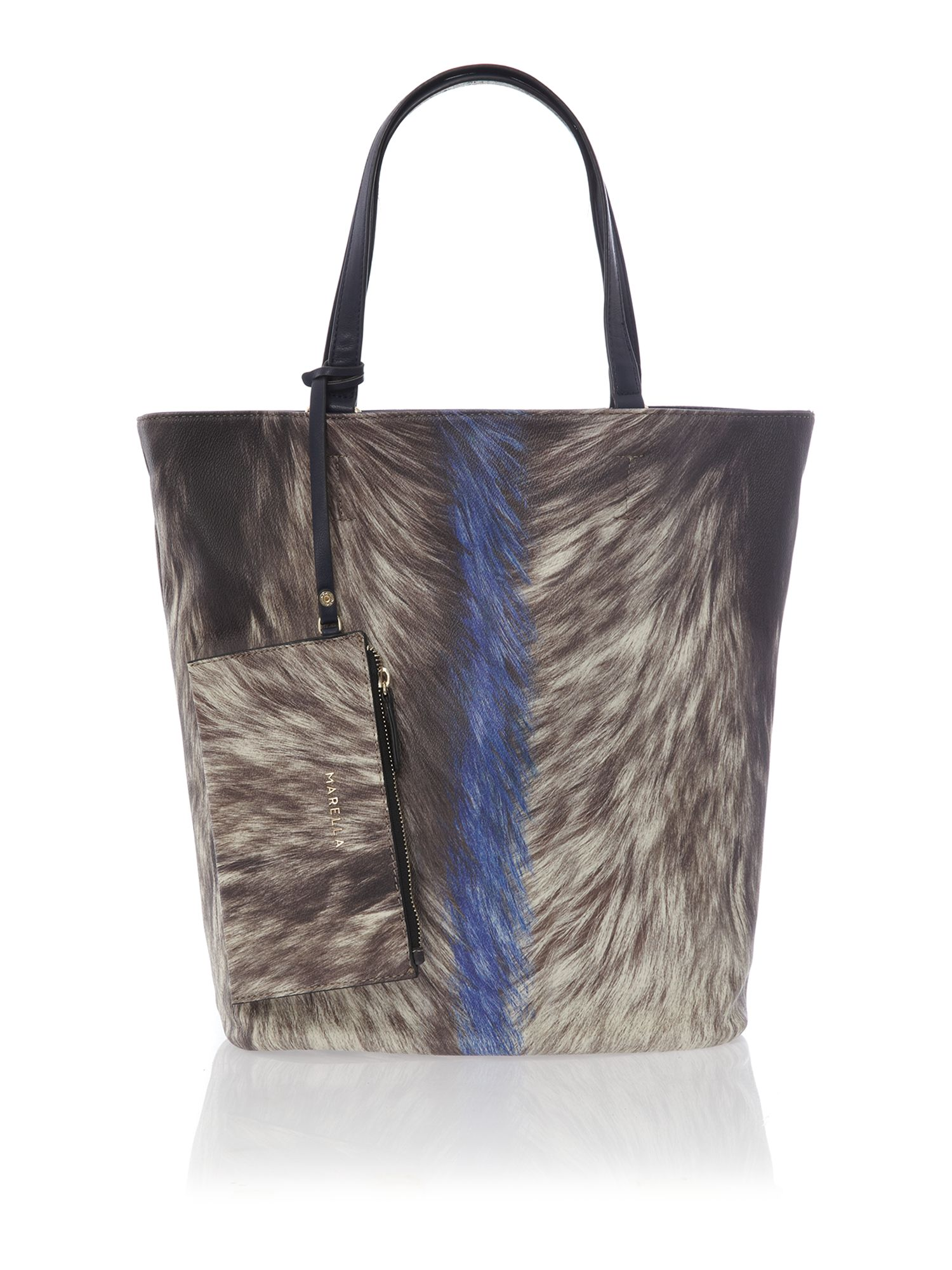 Multi coloured feather print hobo bag with purse