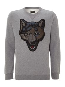 Wolf head applique sweatshirt