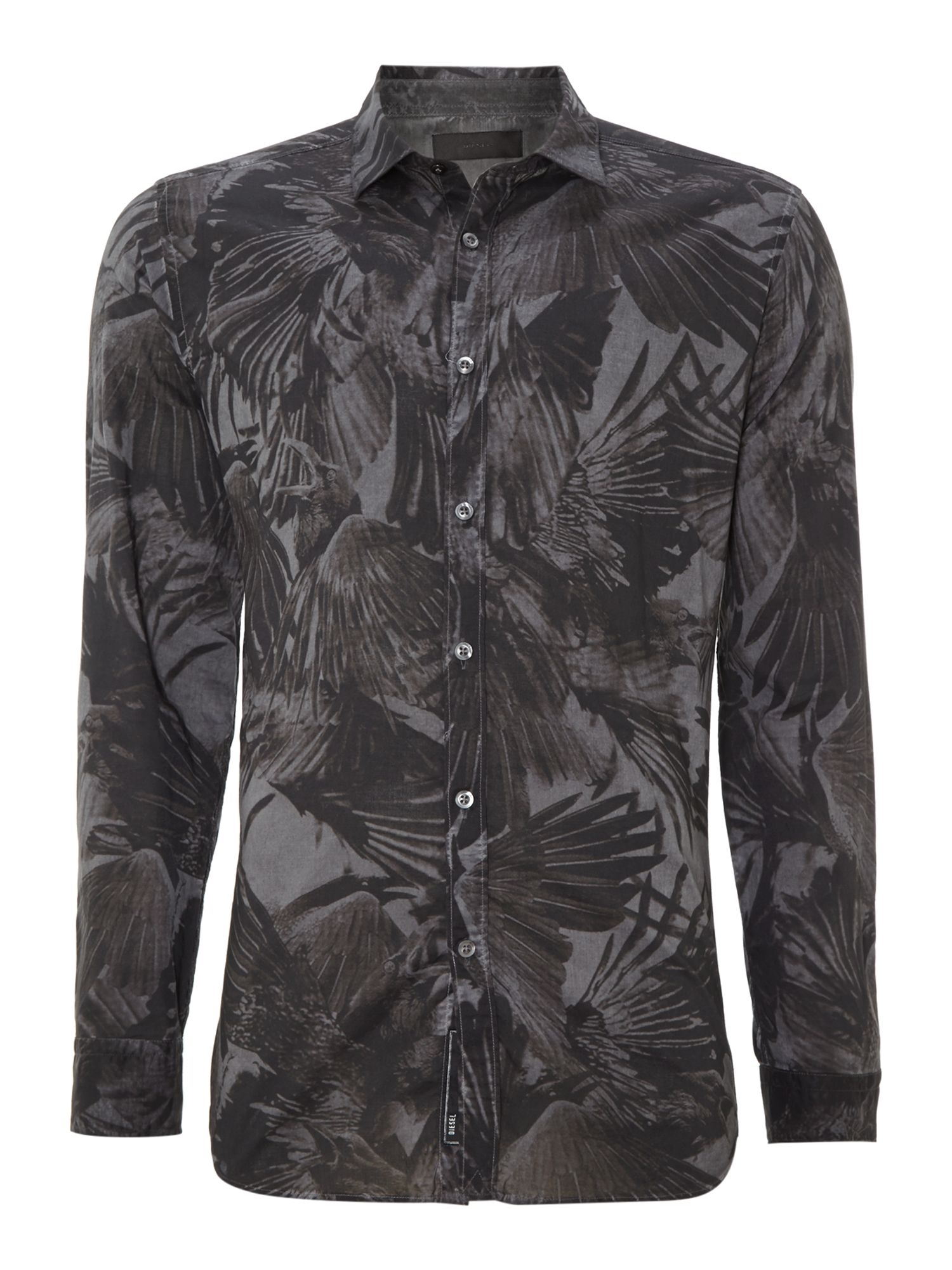 All over crow print shirt
