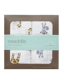 Aden & Anais Babys 2 pack boxed printed swaddles