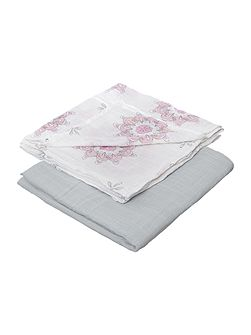 Babys 2 pack boxed printed swaddles