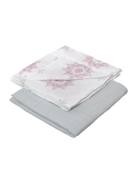 Aden & Anais Baby 2 pack boxed printed swaddles