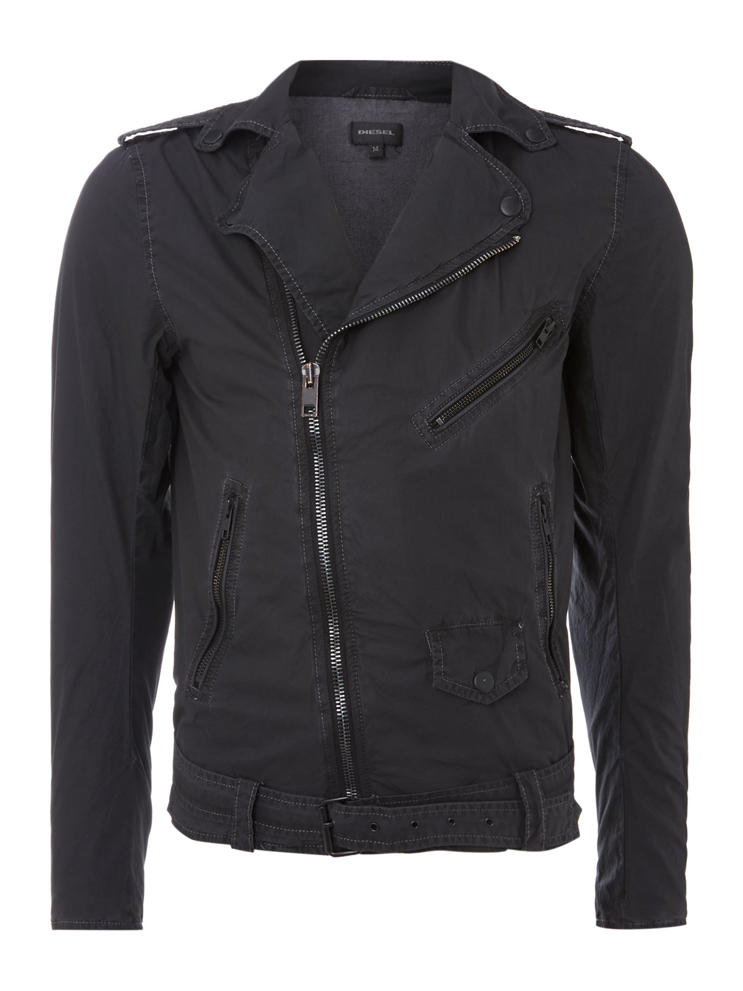 Belted cotton biker jacket