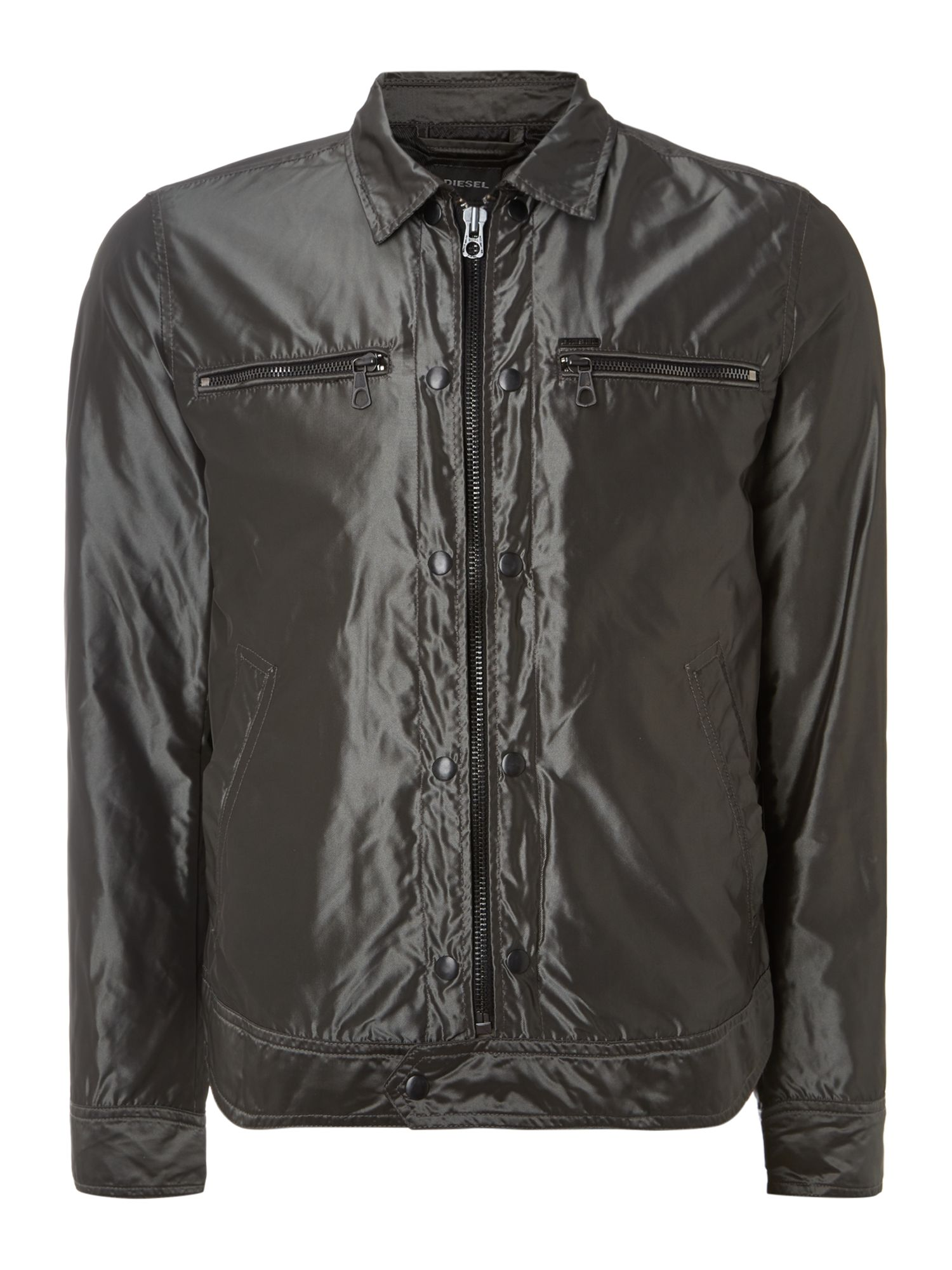 Zip up double pocket nylon jacket