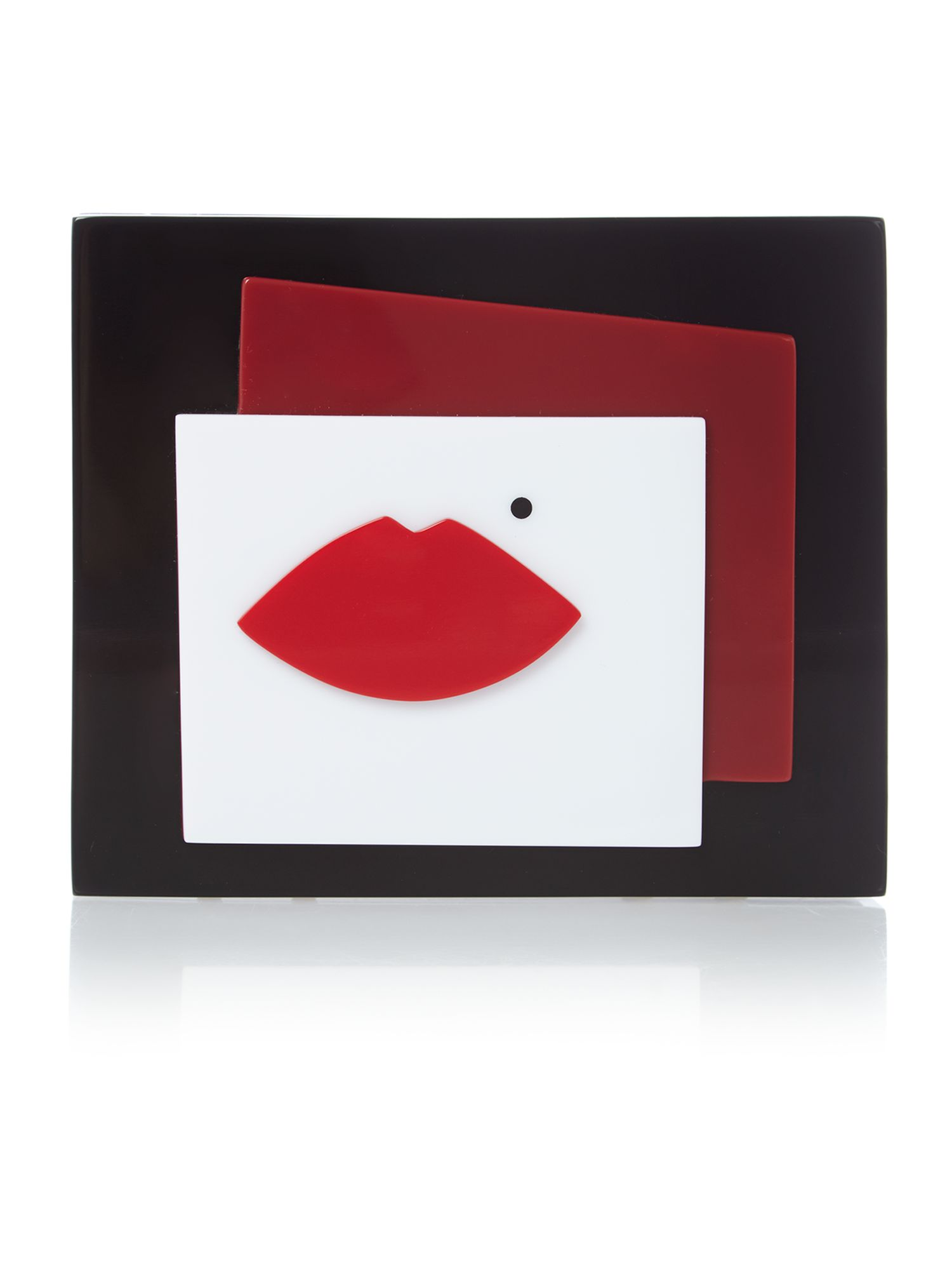 Abstract multi-coloured lip percept clutch bag