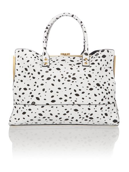 Lulu Guinness Daphne multi-coloured roughly cutout spot tote