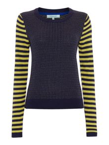 Stripe and fleck knit jumper