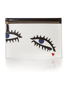 Naomi white eyes multi-coloured clutch bag