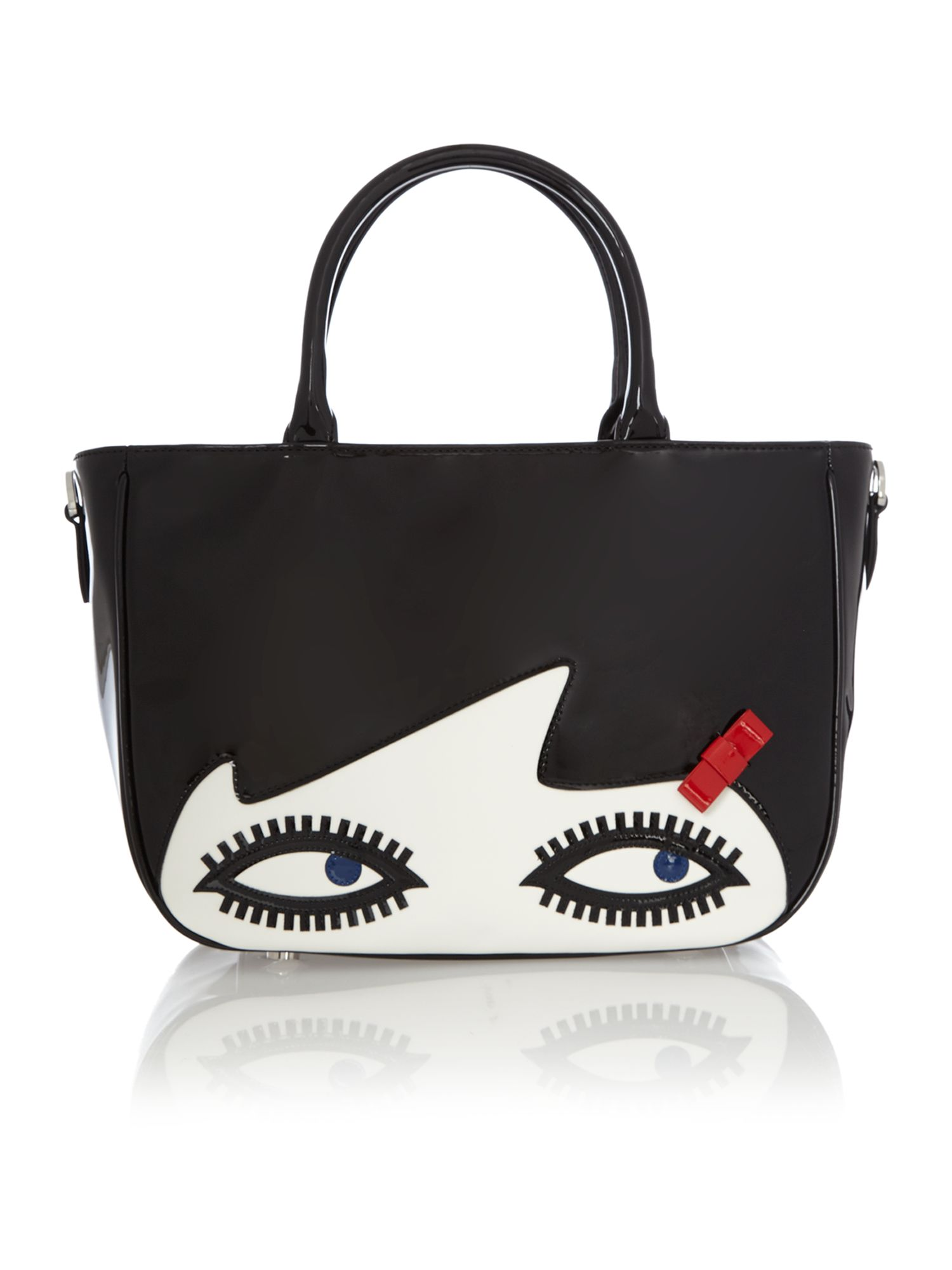 Wanda black small doll face tote bag