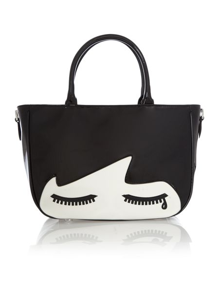 Lulu Guinness Wanda black small doll face tote bag