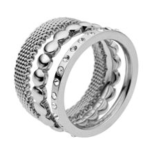 Classic austrian crystal silver steel ring