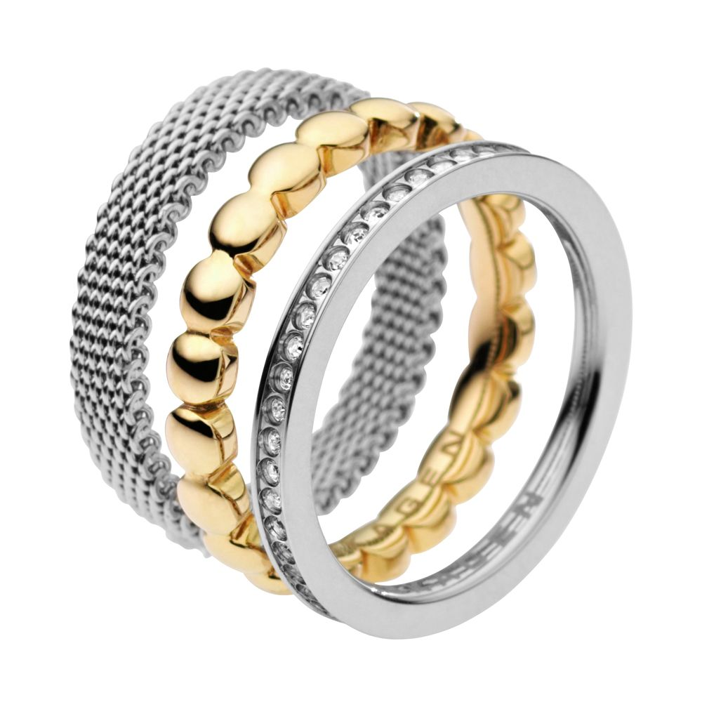 Classic austrian crystal gold two tone steel ring