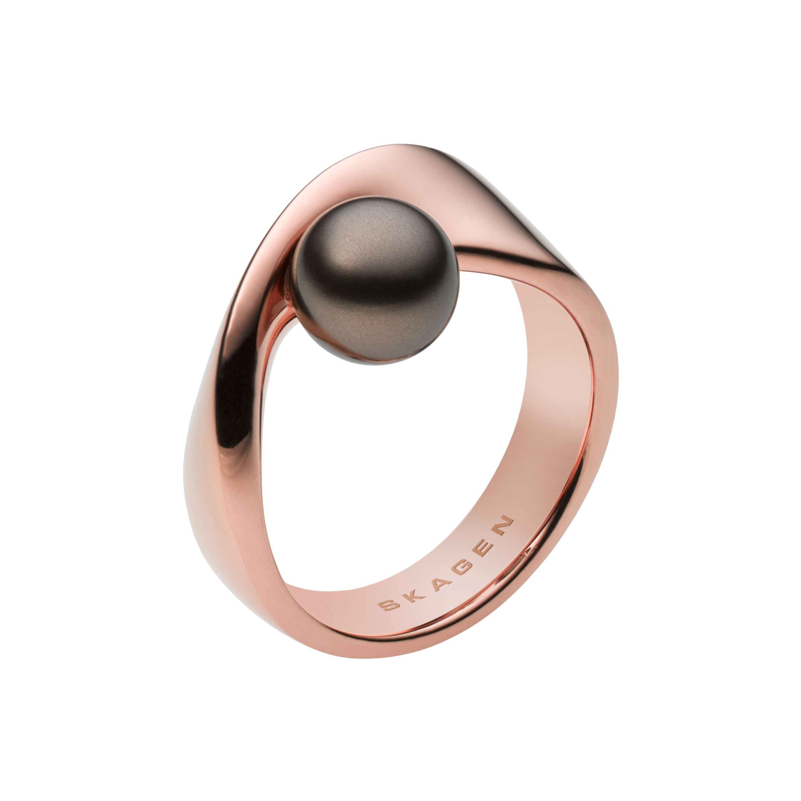 Classic pearl rose gold steel ring