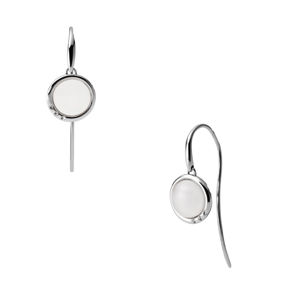 Classic white glass silver steel earrings