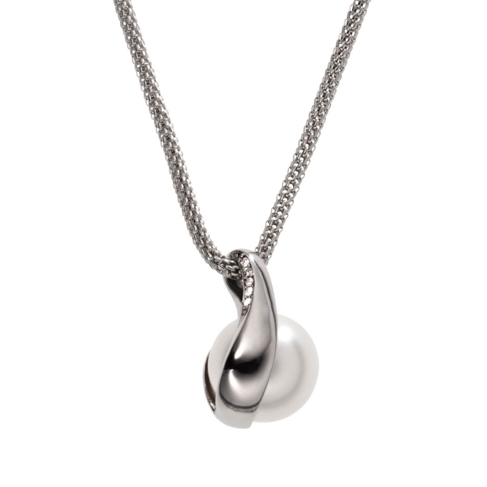 Classic pearl silver stainless steel necklace